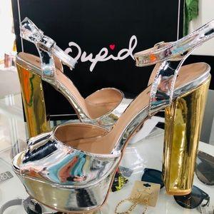 Sassy Silver Shiny Metallic Platform w Gold Heels